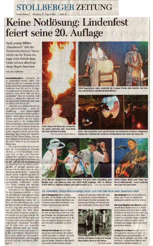 Zeitungsartikel zum Lindenfest aus der Freien Presse - Stollberger Teil vom 17. August